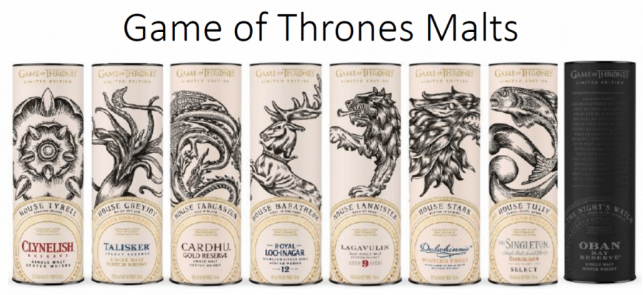 Game of Thrones Malt Whisky Complete Set including Mortlach 15YO
