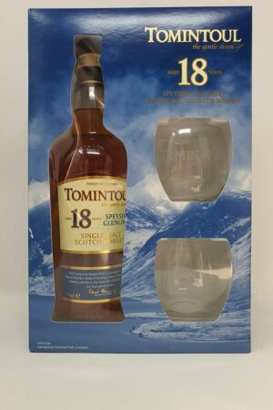 Tomintoul 18 gift pack with glasses